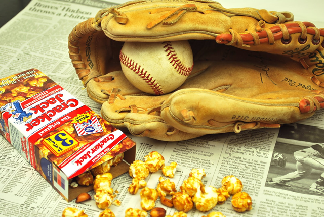Cracker Jacks and baseball and sports page