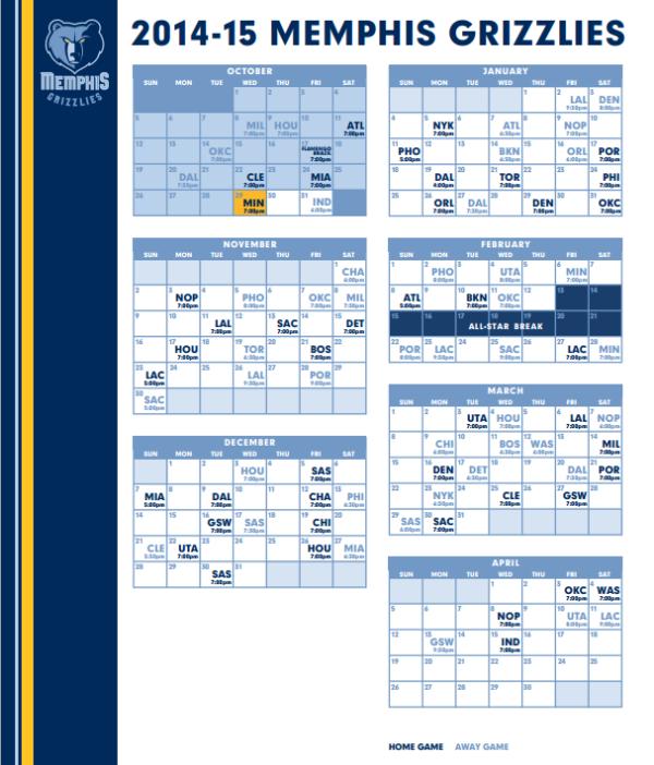 Memphis Grizzlies schedule 2014-2015