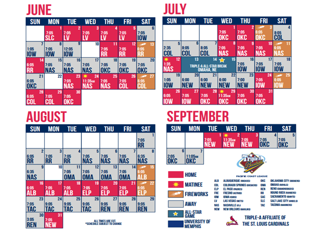 2015 - Memphis Redbirds Schedule - June - September - Courtesy partycartusa website