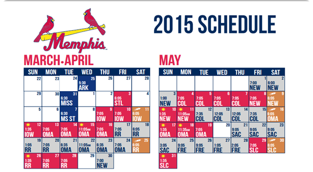 2015 - Memphis Redbirds Schedule - March April May Courtesy partycartusa website